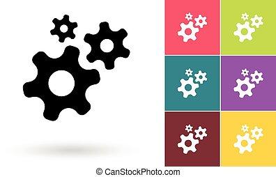 símbolo, vetorial, ou, ícone, engrenagem