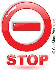símbolo, vetorial, parada, branco vermelho