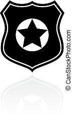 símbolo, vetorial, polícia