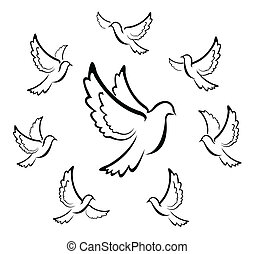símbolo, vetorial, pomba