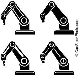 símbolo, vetorial, pretas, braço, robotic