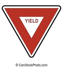 símbolo, vetorial, sinal, estrada, rendimento, ilustração, tráfego