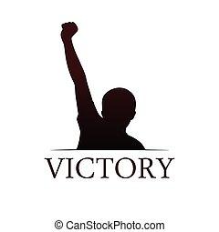 símbolo, victoria, plantilla
