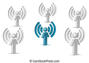 símbolo, wifi, gente