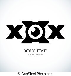 símbolo, xxx, olho, ícone