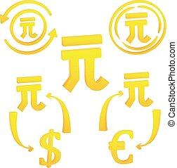 símbolo, yan, moneda, china, chino, 3d