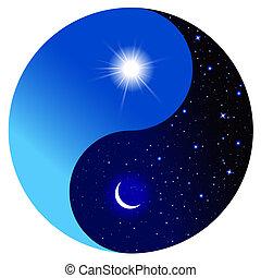 símbolo, yang de yin, día, noche