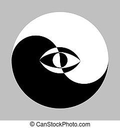 símbolo, yang de yin, eye.