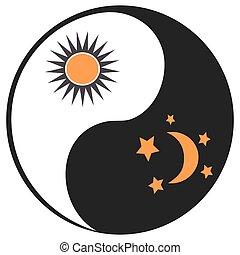 símbolo, yang de ying, luna, sol