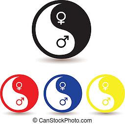 símbolo, yang yin, femininas, macho