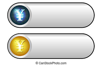 símbolo yen, dois, botões, vetorial, prata
