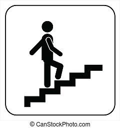 símbolo, yendo, escaleras up, hombre