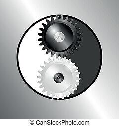 símbolo, yin, metal, yang., pinions., plano de fondo