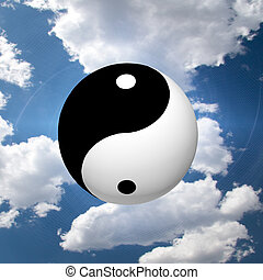 símbolo, yin, nubes, yang