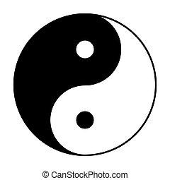 símbolo, yin, pretas, branca, yang
