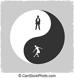 símbolo, yin, yang-male, femininas