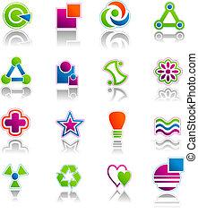 símbolos, abstratos, jogo, ícone, &