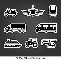 símbolos, adesivos, jogo, transporte, pegajoso