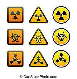 símbolos, advertencia, conjunto, radiación, peligro