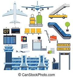 símbolos, aeropuerto, vector, set.