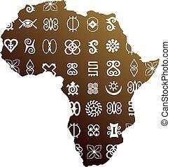 símbolos, africano, étnico