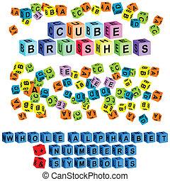 símbolos, alfabeto, cubo, números, y