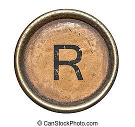 símbolos, (alphabet), r, antigas, máquina escrever