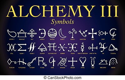 símbolos, alquimia, conjunto