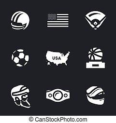 símbolos, américa, jogo, vetorial, icons.