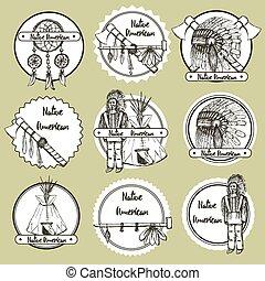 símbolos, americano nativo, bosquejo