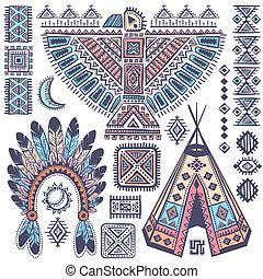 símbolos, americano nativo, conjunto, vendimia