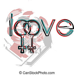 símbolos, amor, lesbiana