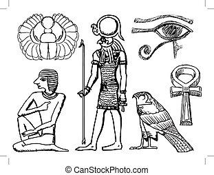 símbolos, antiguo, conjunto, egipcio