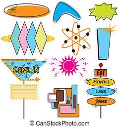 símbolos, anunciando, retro, sinais