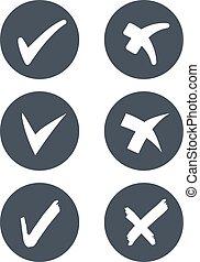 símbolos, arredondado, -, cinzento, marca, botões, vetorial, cheque, circular