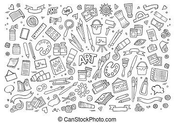 símbolos, arte, vector, arte, objetos