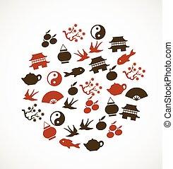 símbolos, asiático