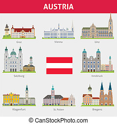 símbolos, austria., ciudades