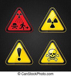 símbolos, aviso, jogo, perigo, atenção