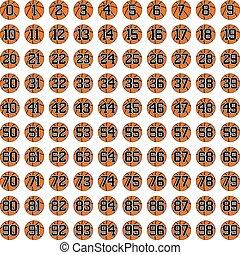 símbolos, baloncesto, 100, pelotas, números