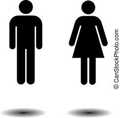 símbolos, banheiro