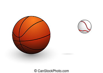 símbolos, basebol, basquetebol, jogo, desporto