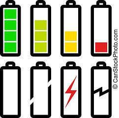 símbolos, batería, vector, nivel