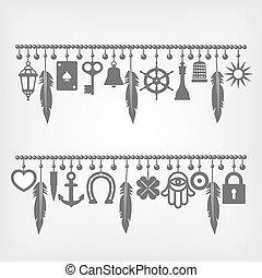 símbolos, bom, charme, pulseiras, sorte