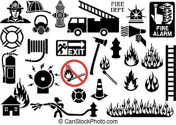símbolos, bombeiro, ícones