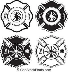 símbolos, bombeiro, crucifixos