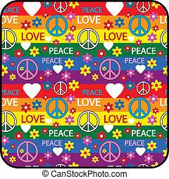 símbolos, botón, hippie
