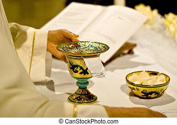 símbolos, bread, vino, religión, :