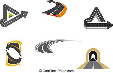 símbolos, camino, carretera