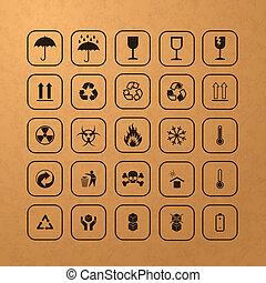 símbolos, carga, Conjunto, negro